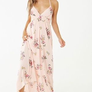 Crinkled Floral Halter Maxi Dress